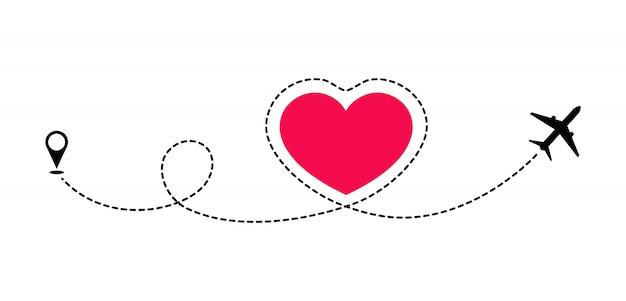 Liebesroute im flugzeug. romantische reise. die gepunktete linie zeichnet die route des flugzeugs nach. romantisches reise-brautpaar. flitterwochen und abenteuer.