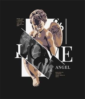 Liebesslogan mit antiker statueillustration auf schwarzem hintergrund