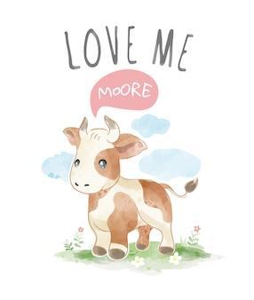 Liebesslogan mit kuh-karikatur in der feldillustration
