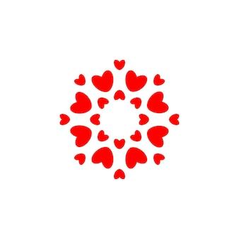 Liebessymbol rote herzen im kreis einfache eleganz rundes logoschablonen-konzeptdesign für hochzeit und