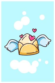 Liebesumschlag, der mit flügelkarikatur fliegt