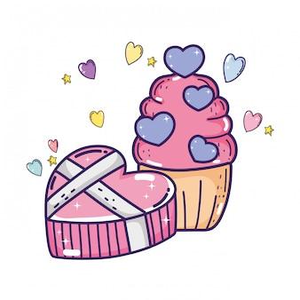 Liebesvalentinsgrußtagesüßer kleiner kuchen und geschenk
