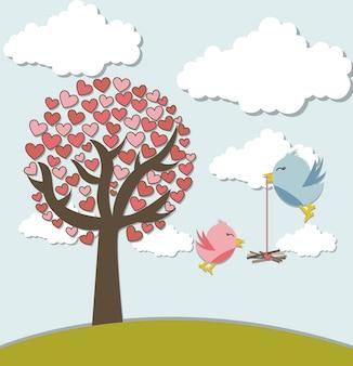 Liebesvögel mit baum und netter landschaftsvektorillustration