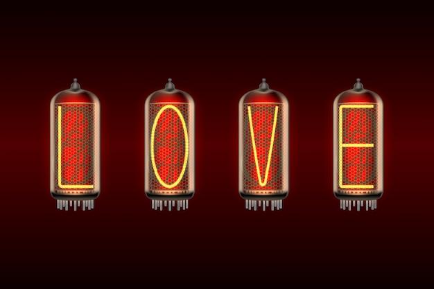 Liebeswort auf retro-angeredeten nixieröhren-anzeigelampen