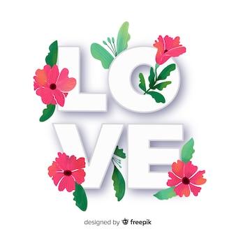 Liebeswort mit blumen und blättern