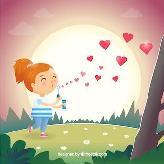 Liebeszusammensetzung mit glücklichem mädchen
