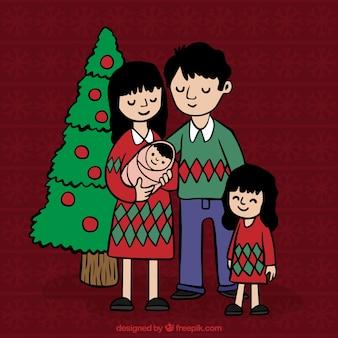 Liebevoll von hand gezeichnet weihnachten familie