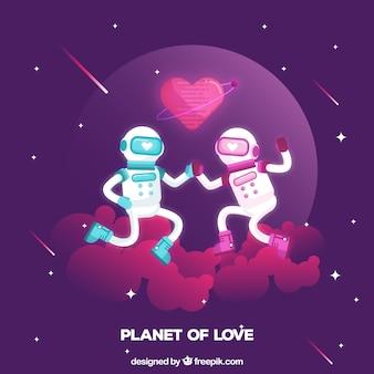 Liebevolle astronauten in den räumen