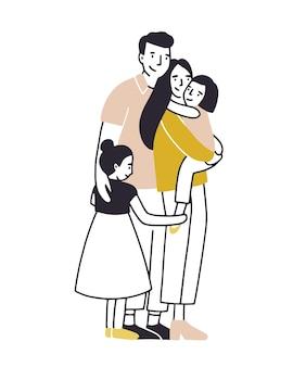Liebevolle familie. vater, mutter und zwei töchter stehen zusammen und kuscheln.