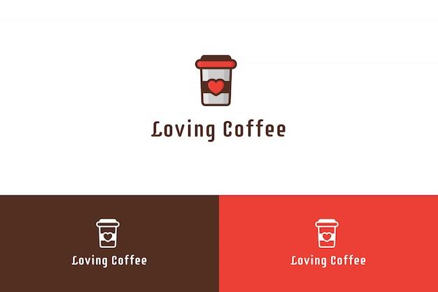Liebevolle kaffee-logo-illustration