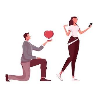 Liebevolle menschen flache illustration mit mann, der der frau sein herz anbietet