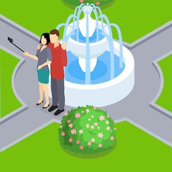 Liebevolles paar, das isometrisches selfie-layout macht