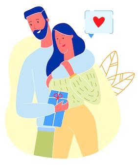 Liebevolles paar, mann, der geschenk an freundin präsentiert