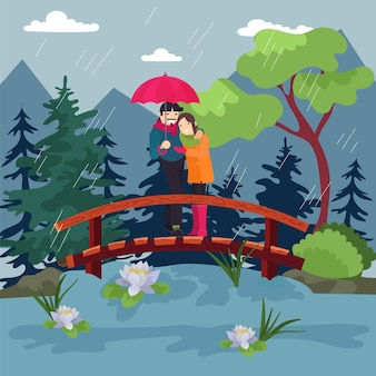 Liebevolles paar mit einem regenschirm im regen, schöne omantic, herbstwetter in der natur, design, karikaturartillustration.