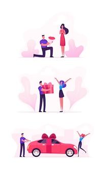 Liebevolles paar-set mit mann, der mädchen geschenke gibt
