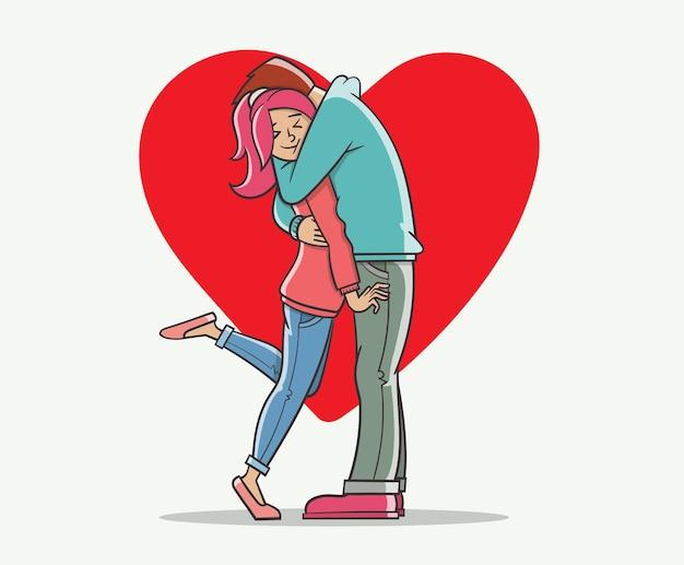 Liebhaber mann und frau umarmen sich