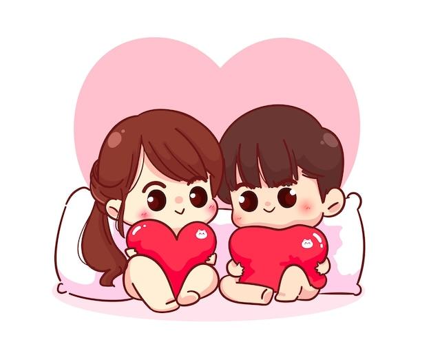 Liebhaberpaar, das mit einer kissenherzförmigen, glücklichen valentinstag-, zeichentrickfigurillustration sitzt