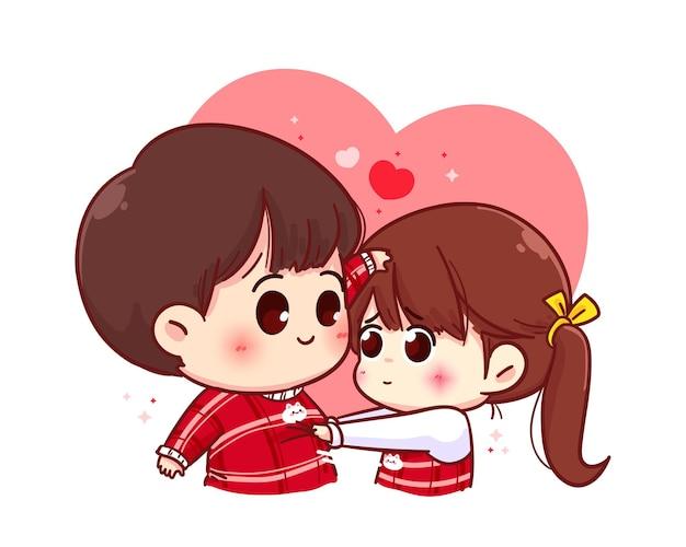Liebhaberpaar, glücklicher valentinstag, zeichentrickfigurillustration