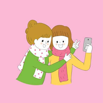 Lieblings-selfie zusammen vektor der karikatur netter herbst zusammen.
