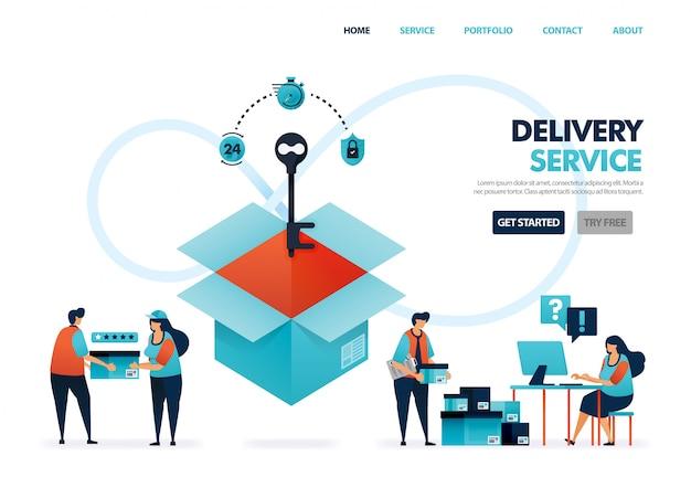 Liefer- oder versandservices für e-commerce-unternehmen und -unternehmen, liefern von dokumenten und waren.