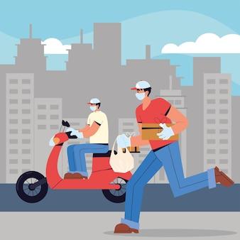 Lieferarbeiter tragen gesichtsmasken, fahren motorrad und laufen mit kisten