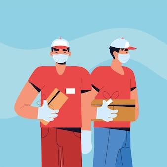 Lieferarbeiter tragen gesichtsmasken mit kisten