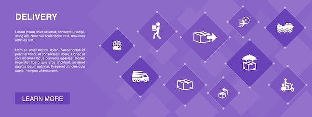 Lieferbanner 10 icons concept.return, paket, kurier, expressversand einfache icons