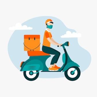 Lieferbote auf motorroller mit maske