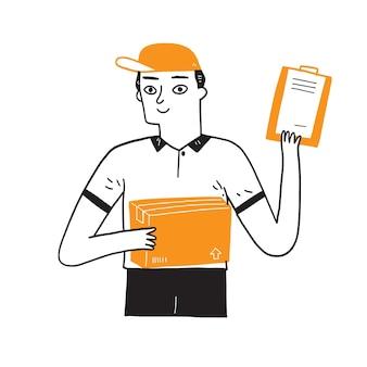 Lieferbote, der eine große kiste mit dokumenten zum unterschreiben hält. handzeichnungsvektorillustration