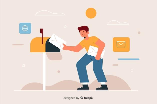 Lieferbote, der einen brief in den briefkasten einsetzt
