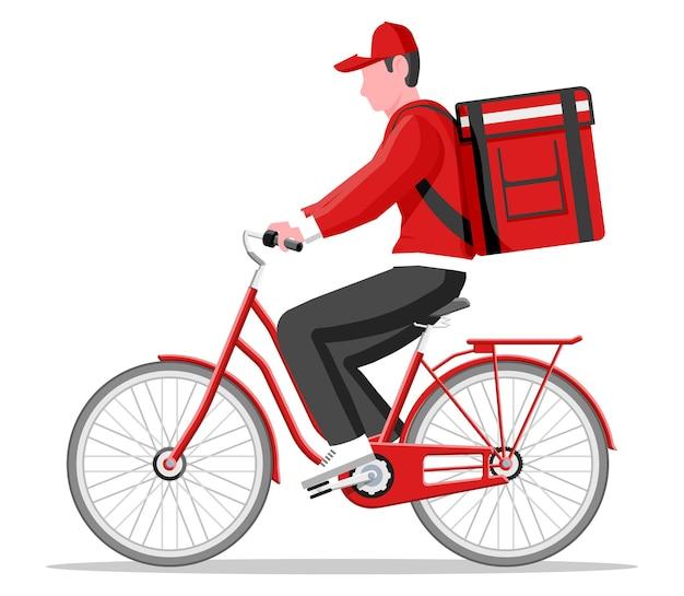 Lieferbote, der fahrrad mit der box reitet. konzept der schnellen lieferung in der stadt. männlicher kurier mit paketkasten auf dem rücken mit waren und produkten. flache vektorillustration der karikatur