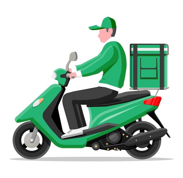 Lieferbote, der motorradroller mit der box reitet. konzept der schnellen lieferung in der stadt. männlicher kurier mit paketkasten auf dem rücken mit waren, lebensmitteln und produkten. flache vektorillustration der karikatur