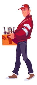 Lieferbote hält eine holzkiste für flaschen mit alkoholischen getränken