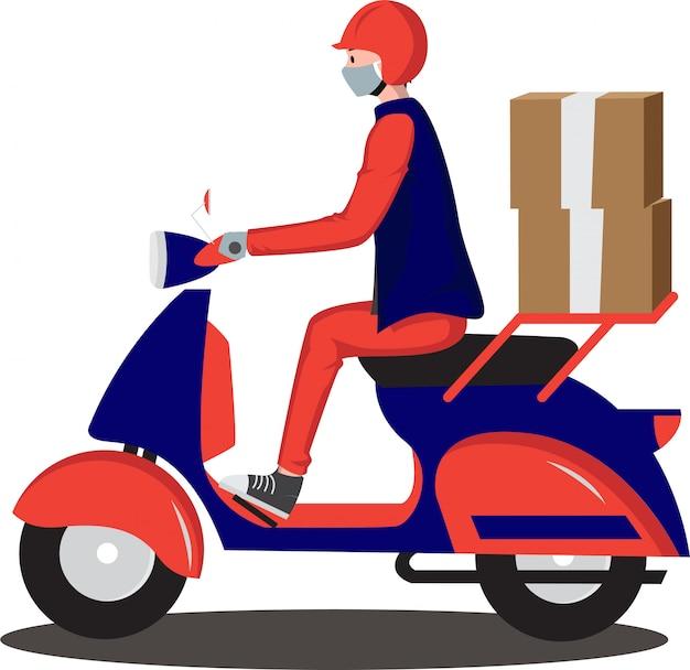 Lieferbote liefert paket mit motorrad