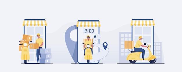 Lieferbote mit fahrradmotorradbestellung per smartphone. illustrationsvektor
