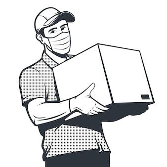 Lieferbote mit gesichtsmaske hält das paket