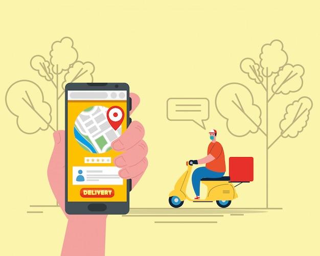 Lieferbote mit maske motorradblasenbäume und smartphone