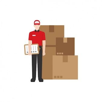 Lieferbote mit paketen