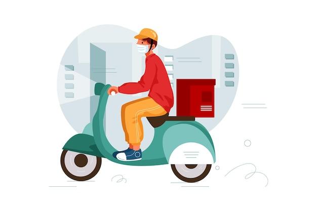 Lieferbote zum mitnehmen auf roller mit isothermer lebensmittelkiste, die schnell fährt