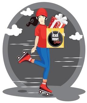 Lieferfrau, die einkaufstasche mit geschenkbox hält. verkaufsaktion am schwarzen freitag.