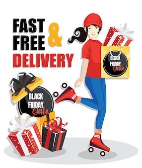 Lieferfrau, lieferung eines pakets mit schwarzem freitagsverkaufsgeschenk. schnelle und kostenlose lieferung.