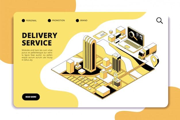 Lieferisometrisches konzept. logistik- und versandlagerservice mit lkw, verpackung und stadtplan. telefon app vektor landing page