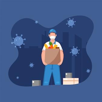 Lieferjunge, der medizinische maske mit dem halten der einkaufstüte und der paketboxen auf blauem stadtbildhintergrund trägt.