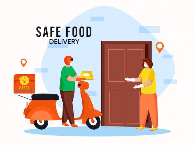 Lieferjunge erhält pizzapaket an kundenfrau mit medizinischen masken und aufrechterhaltung der sozialen distanz für eine sichere lebensmittellieferung während des coronavirus.