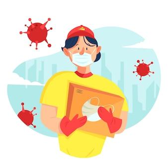 Lieferjunge mit medizinischer maske zum schutz