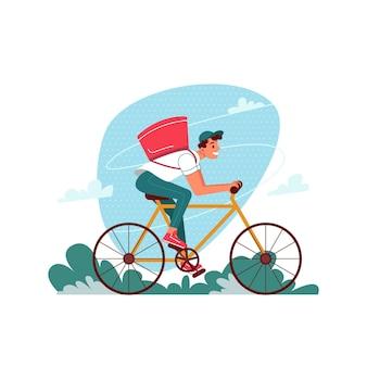 Lieferkurier auf fahrrad mit paket, das eilbestellungsvektorflachkarikatur lokalisiert liefert