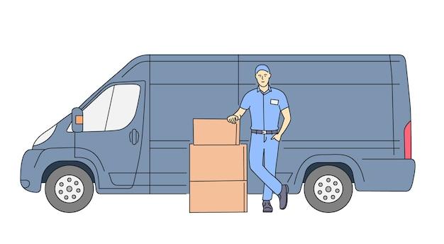 Lieferkurierdienstkonzept lieferkuriermann, der paket mit lieferwagen hält