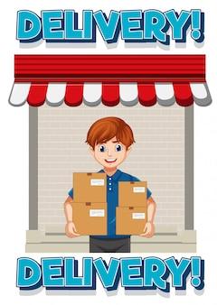 Lieferlogo mit liefer- oder kuriermann in der blauen einheitlichen zeichentrickfigur