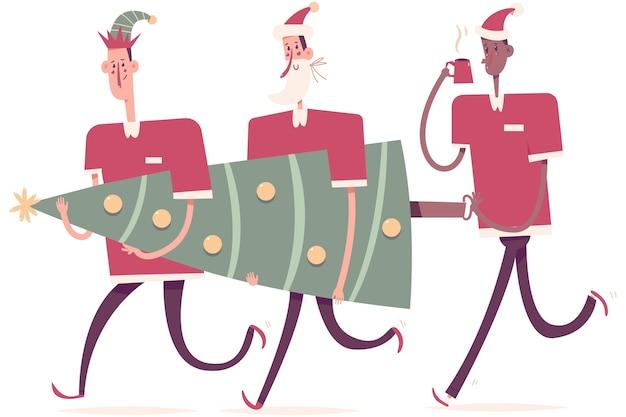 Liefermänner in feiertagskostümen tragen weihnachtsbaumkarikaturillustration