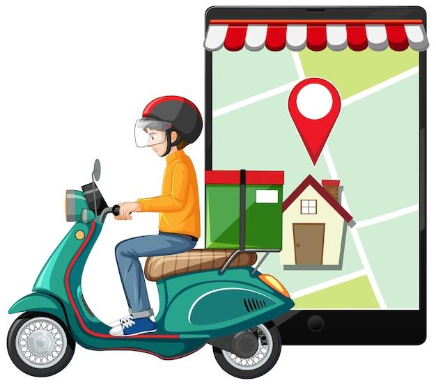 Liefermann, der motorrad oder moterbike mit kartenbildschirm auf tablette taucht